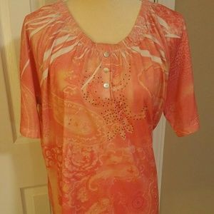 1X Womens orange blouse